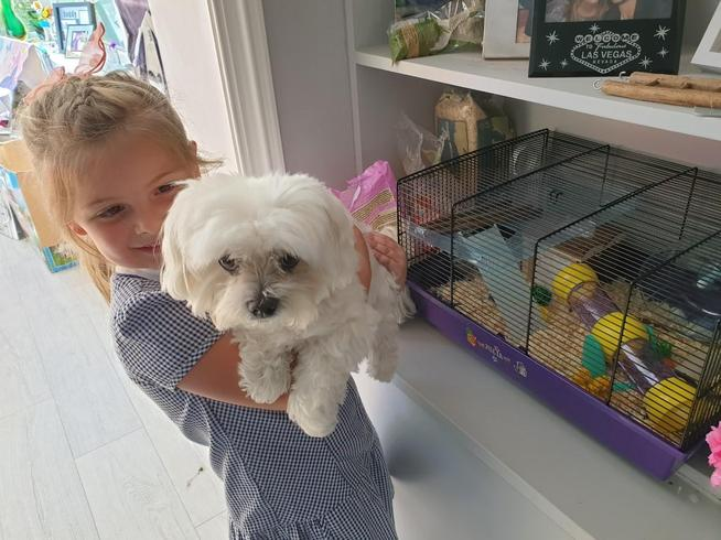 Sienna with her pet dog