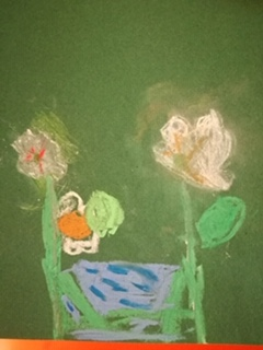 Dexter's daffodils in oil pastels