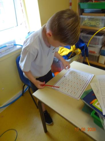 Max busy with phonics