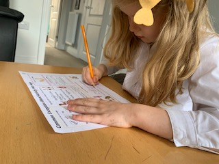 Lillie  working hard on the exception word 'says'