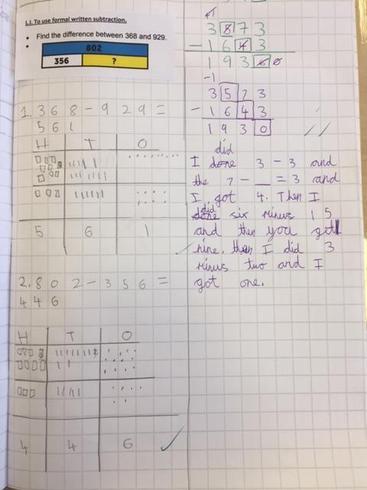 Formal written method of subtraction
