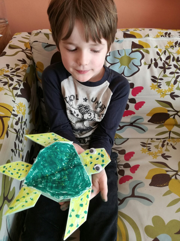 Dexter's origami turtle he made with his dad