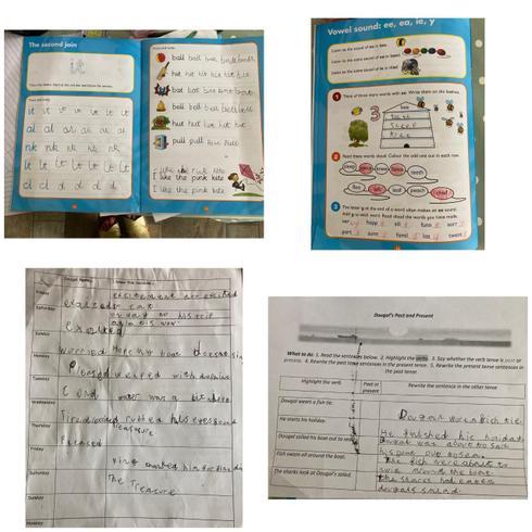 Evalyn's handwriting and spelling practise