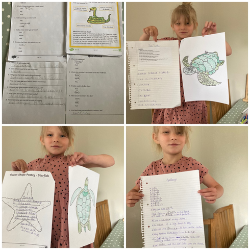 Evalyn sharing some of her home learning this week