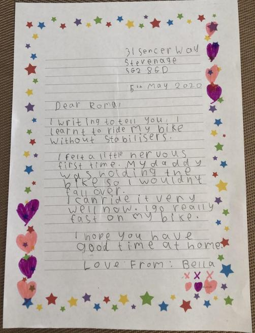 Bella's letter to her friend