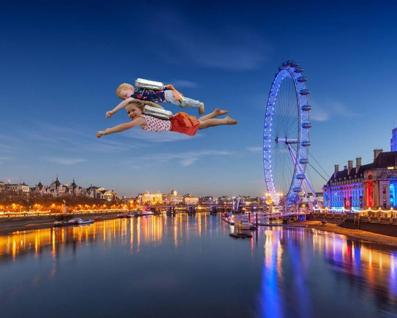 Gabriella and Theo flying around London