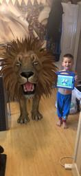 Spencer with the lion who came to tea