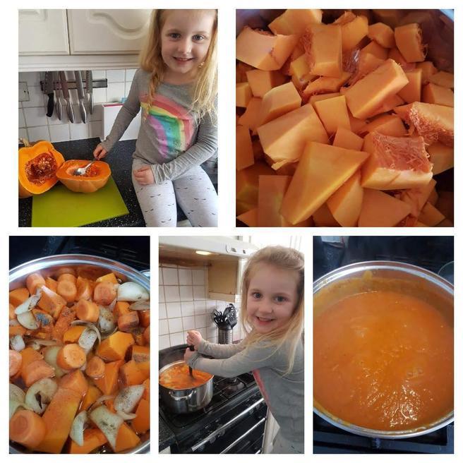 Gabriella making homemade soup