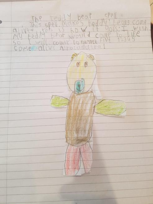 Richard's writing about his teddy bear