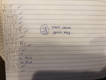 Spencer C's spelling test
