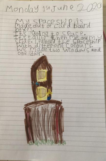 Bella's writing about her space rocket