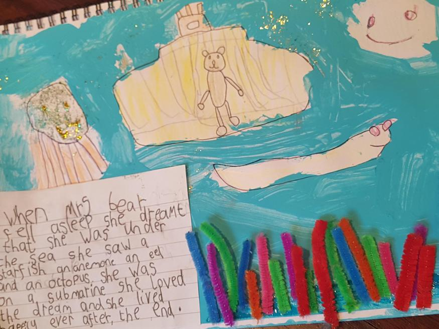 Richard's writing and drawing of Mrs Bear's dream