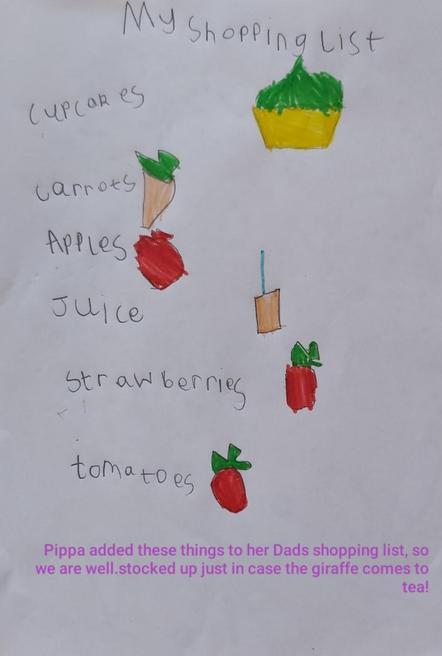 Pippa's shopping list