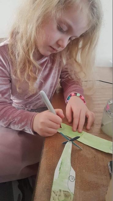 Gabriella designing her spitfire