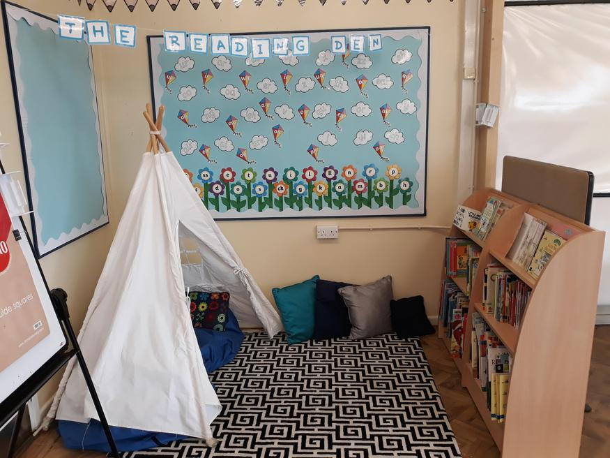 Enjoy a story in the reading den!