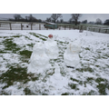 Ah, he was making a snow family!