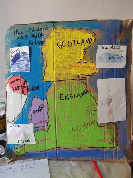A painted map of the UK