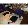 We rolled printing ink on to the table top!!