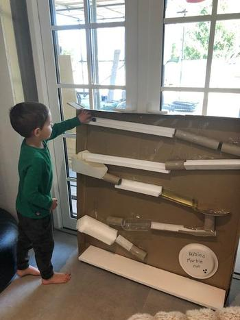 Albie has been busy creating a marble run