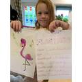 Coco has drawn a Flamingo