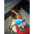 Leah reading before bed time