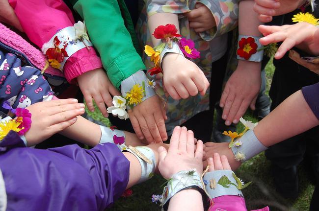 Making spring bracelets!