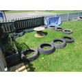 Our wonderful caretaker donated old car tyres!