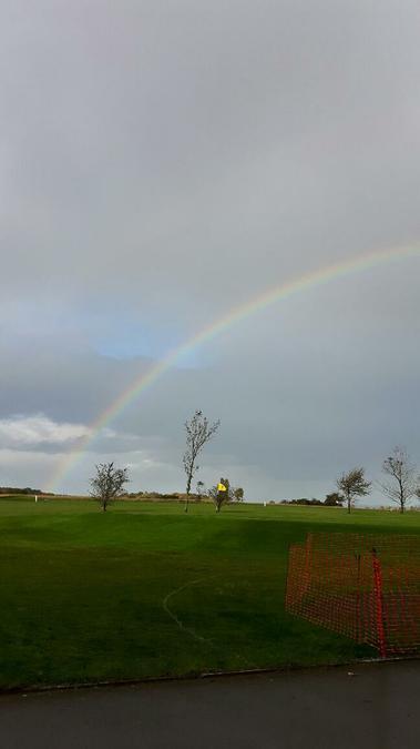 A rainbow shone on the players!