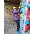 Traversing the climbing wall.