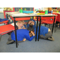 Earthquake drill in class 4