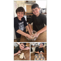 Taylor and Charlie making bread for their lunch