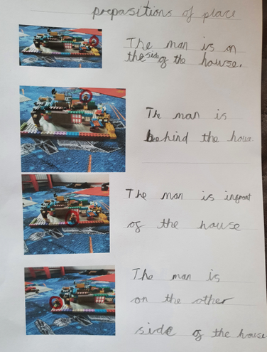 Oscar used his Lego to help write sentences with prepositions