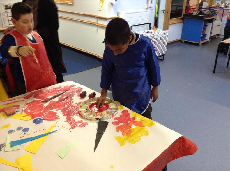 Painting over the shapes