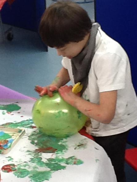 Enjoying the balloon painting