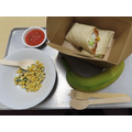 Veggie Burrito with Mixed Beans, Rice and Tomato Relish, plus vegetables and whole fruit