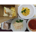 Quorn Fajitas with Pepper; Homemade Coleslaw and Salsa, Sweetcorn, Chips & Homemade Cake