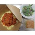 Vegetarian Spaghetti Bolognese with crunchy Italian salad and homemade cake slice