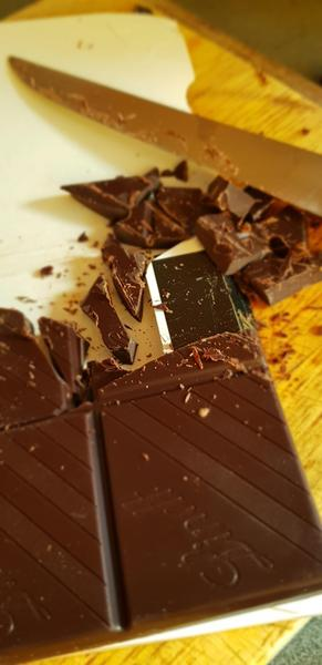 Chopping the chocolate
