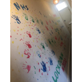 Levi's rainbow hallway!