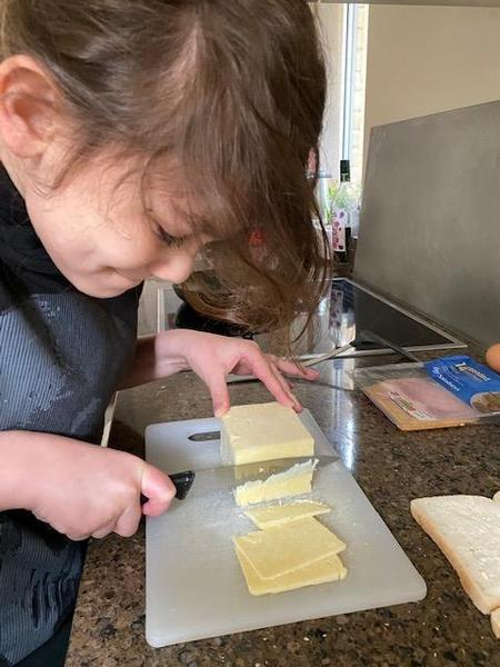 Slicing the cheese