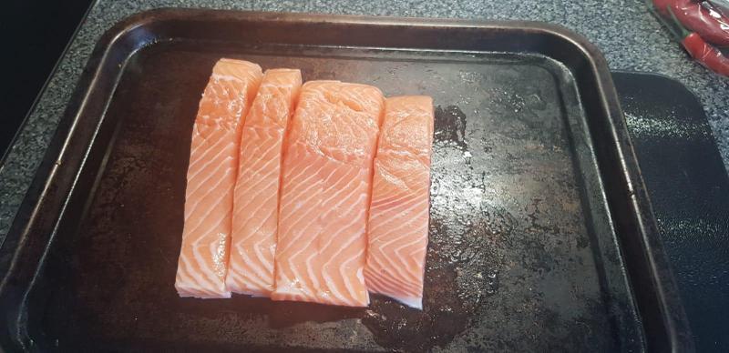 Put the salmon pieces on baking tray