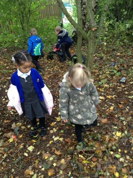 Going on a bear hunt through the Nursery forest.