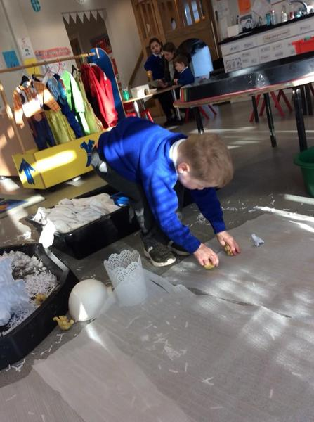 Creating a snowy world for small world play