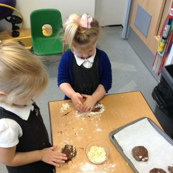 Making Gruffalo biscuits