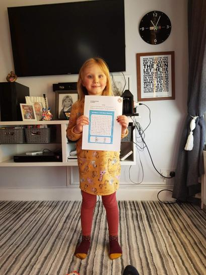 Bella found all the number words to ten in her wordsearch