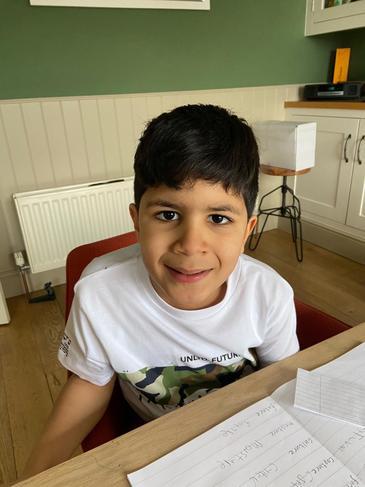 Jasper feeling very proud of his spellings this week