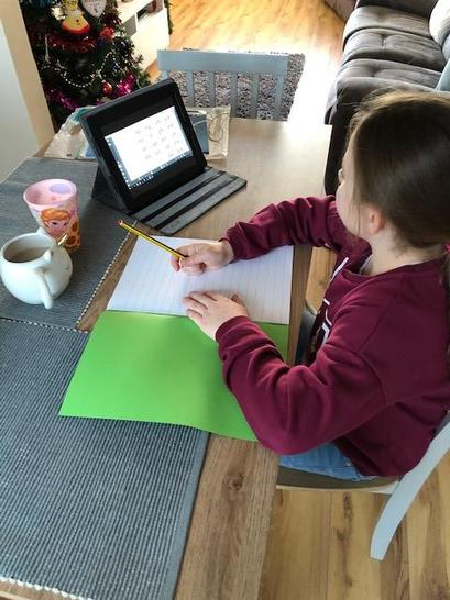 Eleanor was ready and raring to start her home learning on Monday - with a cup of tea too!