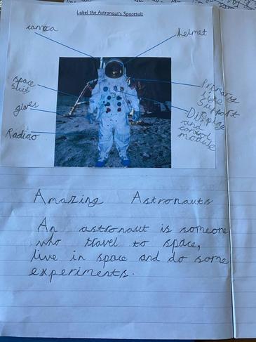 Menaal's astronaut writing