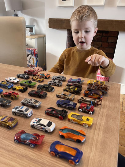 Kobe used his cars to help him with his maths.