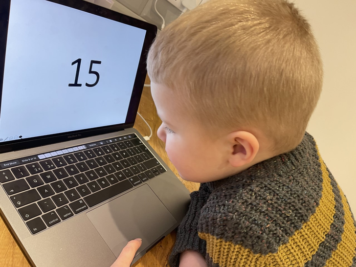Kobe has been practising his number recognition.